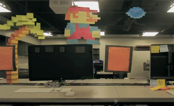 Ingeniosa animación de Mario Bros hecha con post it´s (por Iohanna Küppers y Pulpo Caivano)